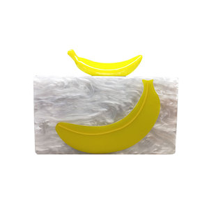 High End Custom Banana Design Acrylic Clutch Evening For Lady