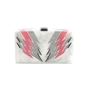 GLITTER IN THE SHAPE OF LIGHTNING WITH WHITE MARBLE ACRYLIC CLUTCH BAG WBC-B001