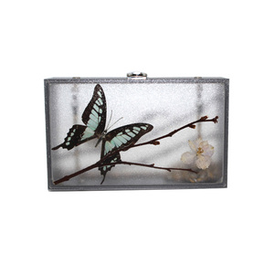 2021 new spring high quality china ladies designer butterfly acrylic evening clutch bag