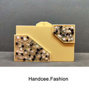 YELLOW ACRYLIC BAG  WITH SMALL STONE DECORATED HC-P031