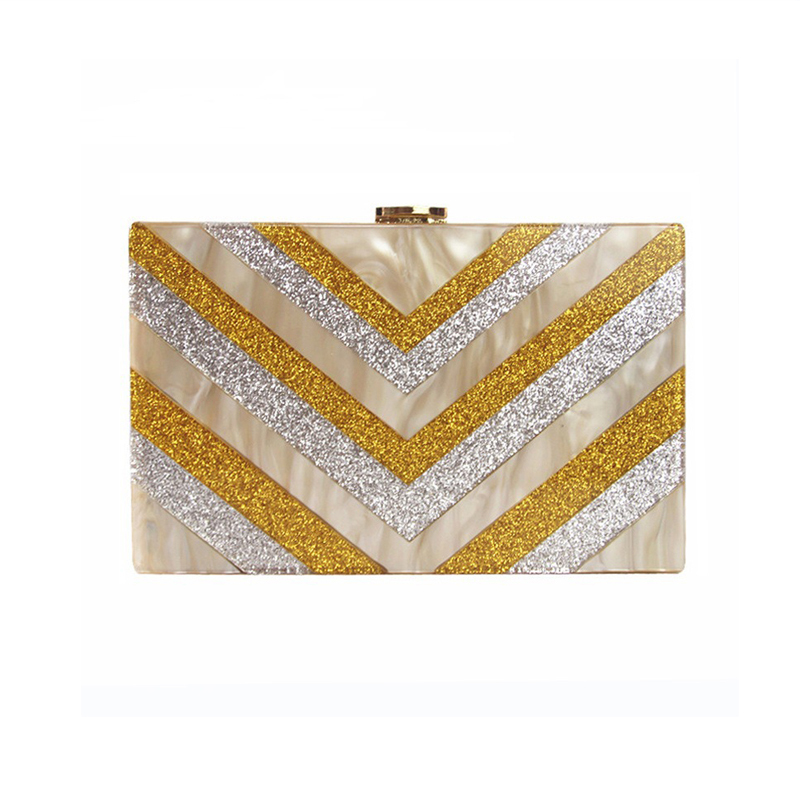 ZX-001 GLITTER & PEARLITE COLOR ACRYLIC EVENING BAG