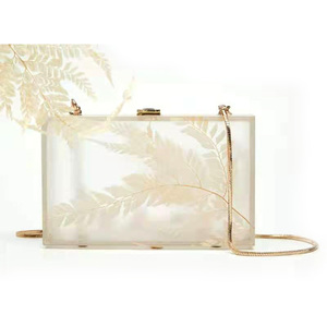 2021 new spring high quality china ladies designer white leaves acrylic evening clutch bag