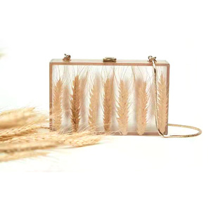 2021 new spring high quality china ladies designer wheat acrylic evening clutch bag