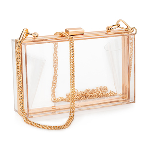 In stock 2020 latest fashion clear ladies acrylic square purse clear party wedding clutch evening ba