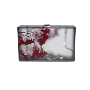 2021 new spring high quality china ladies designer plum blossom acrylic evening clutch bag