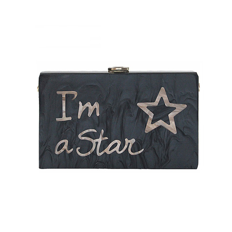 ZX-036 BLACK MARBLE ACRYLIC CLUTCH WITH LETTERS
