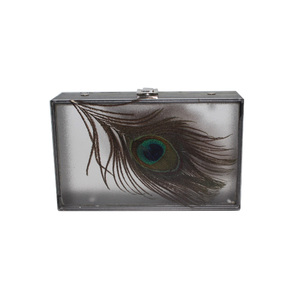2021 new spring high quality china ladies designer Simulation peacock feather acrylic evening clutch