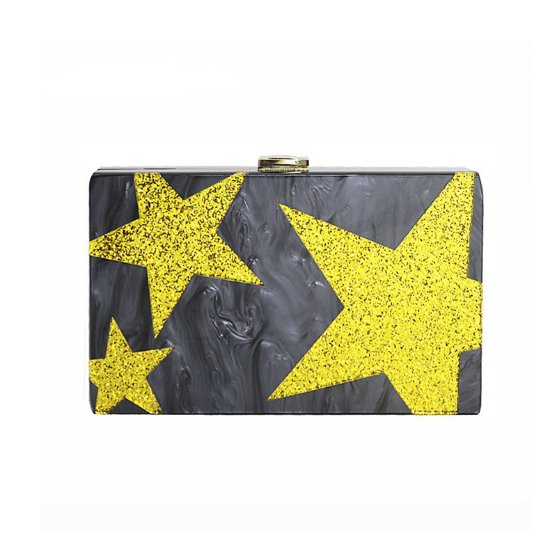 ZX-037 FIVE-POINTED STAR IN GOLD CONFETTI WITH BLACK MARBLE COLOR
