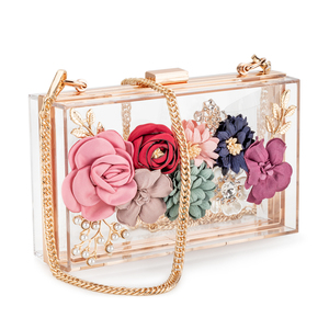 In stock 2020 new arrival handbags for women luxury Acrylic clear flowers ladies clutch evening bags